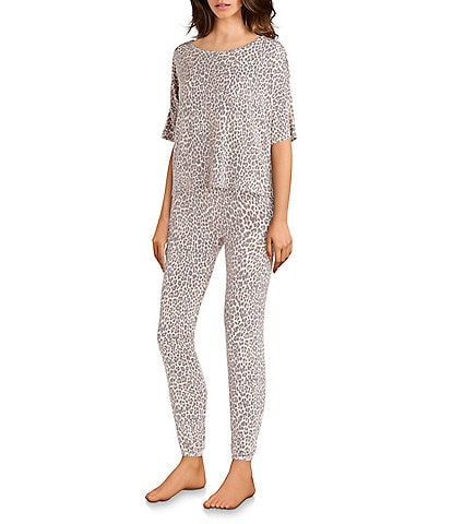 Honeydew Intimates Sun Lover Leopard Print French Terry Pajama Set