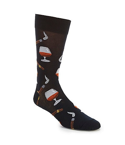 Hot Sox Novelty Congnac and Cigar Crew Socks