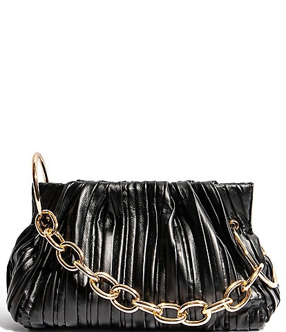 House of Want Chill Framed Pleated Leather Clutch Bag