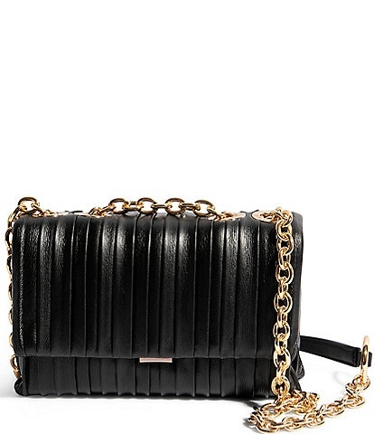 House of Want We Slay Small Pleated Leather Shoulder Bag