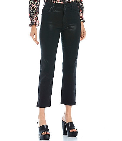 Hudson Jeans Remi High Rise Straight Leg Cropped Coated Jeans
