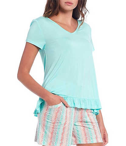 HUEtique Solid Knit Ruffle Hem Sleep Top