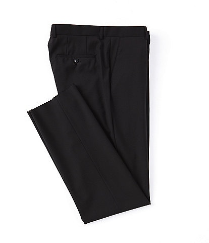 Hugo Boss Classic Fit Flat Front Solid Wool Dress Pants