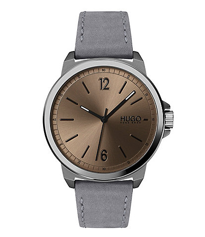 Hugo Boss Lead Grey Leather Watch