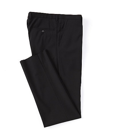 Hugo Boss Lenon Regular Fit Flat Front Solid Black Wool Dress Pants