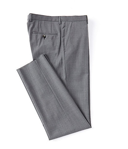 Hugo Boss Lenon Regular Fit Flat Front Solid Wool Dress Pants