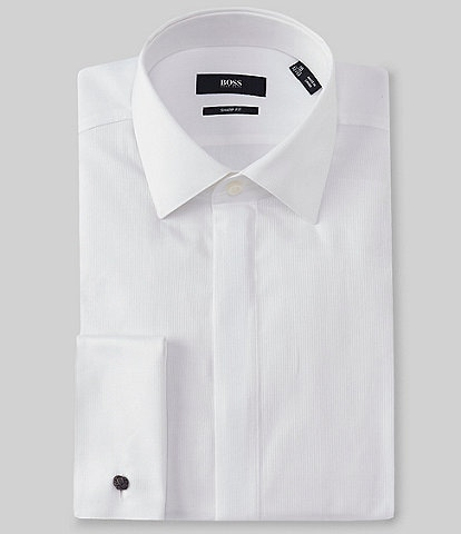 Hugo Boss Sharp Fit Spread Collar French Cuff Tuxedo Shirt