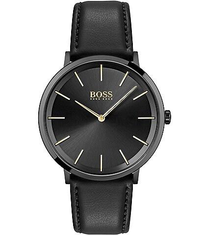 Hugo Boss Skyliner Black Leather Watch