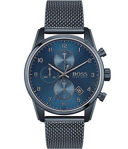 Hugo Boss Skymaster Blue Mesh Chronograph Watch