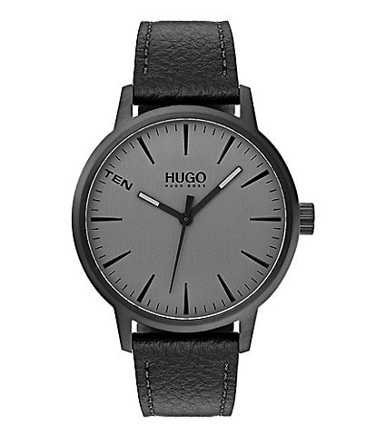Hugo Boss #Stand Black Leather Watch