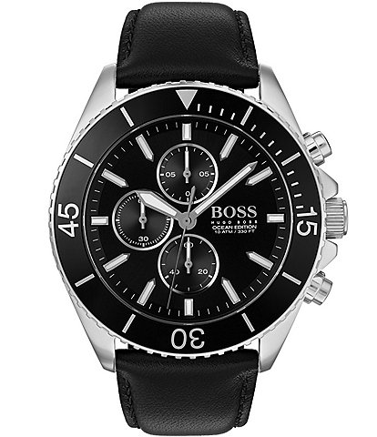 Hugo Boss The Boss Ocean Edition Collection Black Leather Watch