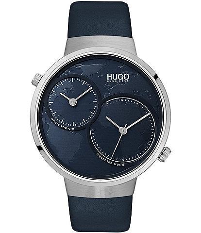 Hugo Boss #Travel Blue Leather Watch