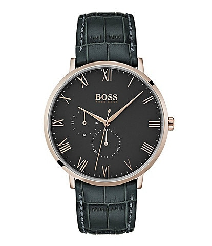 BOSS Hugo Boss William Grey Croc Leather Watch