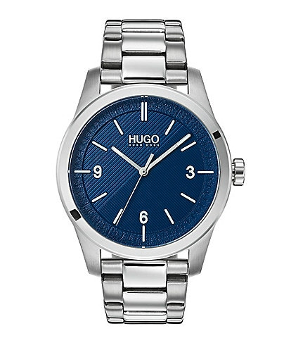 HUGO HUGO BOSS #Create Sterling Silver Blue Dial Analog Bracelet Watch