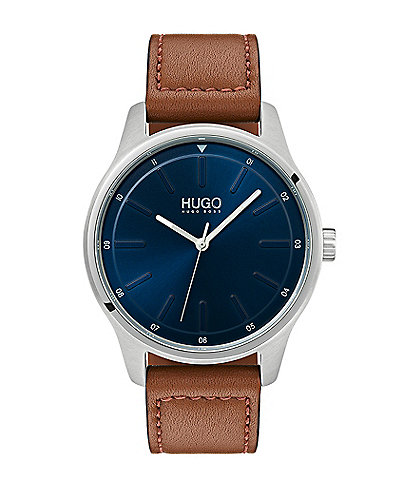 HUGO HUGO BOSS #Dare Brown Leather Strap Watch