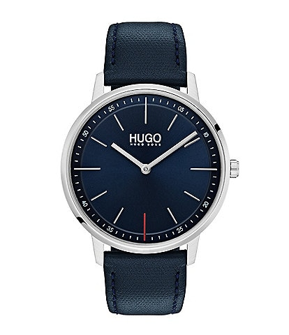 HUGO HUGO BOSS #Exist 2-Hand Blue Leather Strap Watch