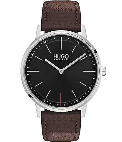 HUGO HUGO BOSS #Exist Brown Leather Strap Black Dial 2-Hand Watch