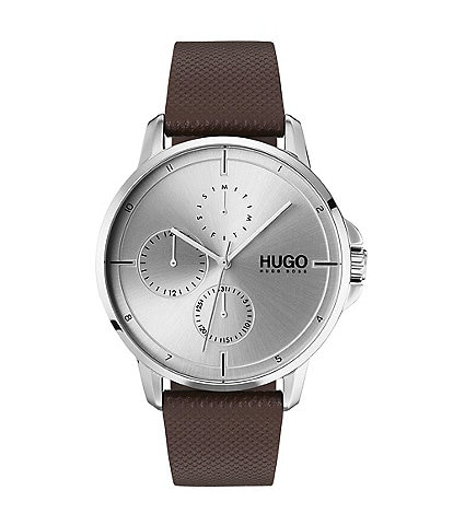 HUGO HUGO BOSS #Focus Brown Leather Strap Multifunction Watch