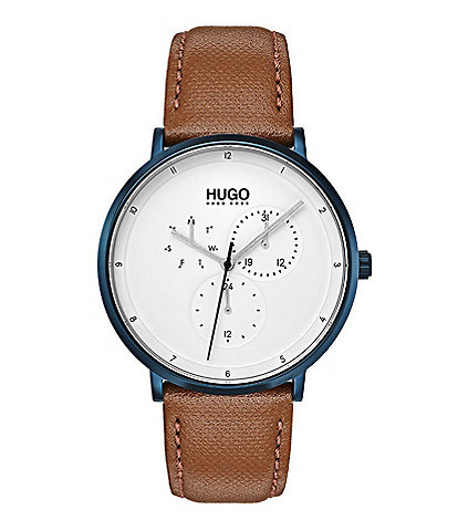 HUGO HUGO BOSS #Guide Ultra Slim Leather Strap Multifunctional Watch
