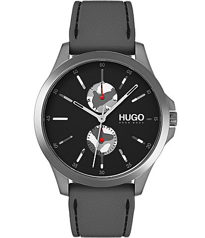 HUGO HUGO BOSS #Jump Grey IP Rubber Strap Multifunction Watch
