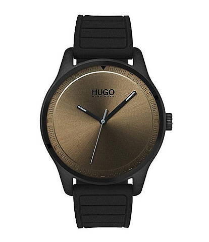 HUGO HUGO BOSS #Move 3-Hand Black Rubber Strap Khaki Dial Watch