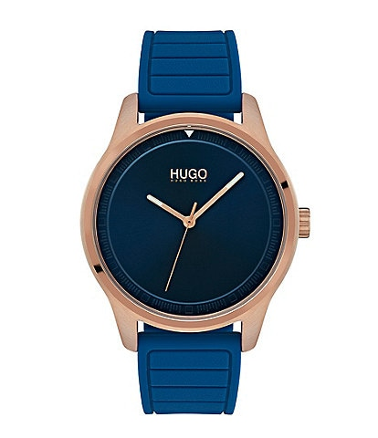 HUGO HUGO BOSS #Move 3-Hand Blue Rubber Strap Watch