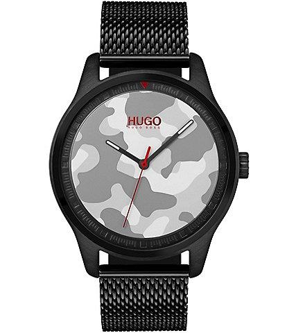 HUGO HUGO BOSS #Move Black IP Case And Mesh Bracelet Camo Dial Watch