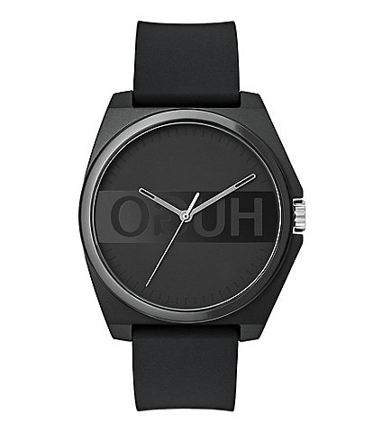 HUGO HUGO BOSS #Play Reverse Logo Dial Black Rubber Strap Watch
