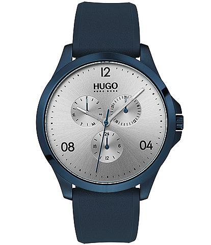 HUGO HUGO BOSS #Risk Blue Rubber Strap Silver Dial Multifunction Watch