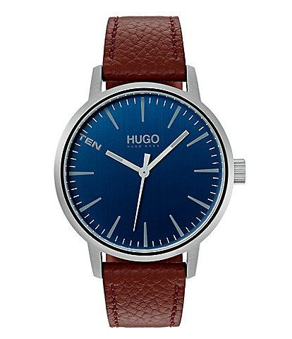 HUGO HUGO BOSS #Stand Brown Leather Watch
