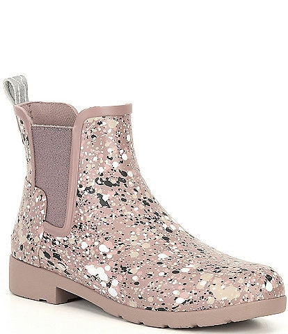 Hunter Chelsea Particle Refined Splatter Paint Rain Booties