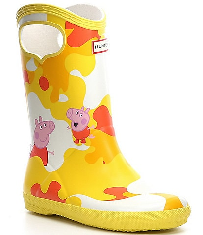 Hunter Kids' First Classic Waterproof Pull-On Peppa Pig Muddy Puddles Boots (Toddler)