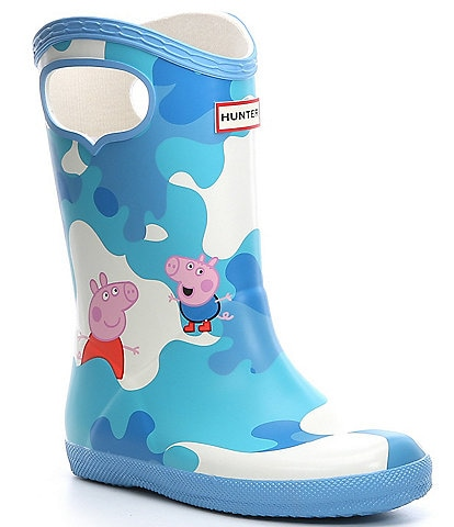 Hunter Kids' First Classic Waterproof Pull-On Peppa Pig Muddy Puddles Boots (Youth)