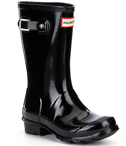 Hunter Kids' Original Gloss Waterproof Buckle Strap Rain Boots (Youth)