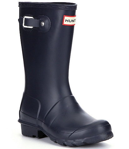 Hunter Boys' Original Matte Waterproof Buckle Strap Rain Boots