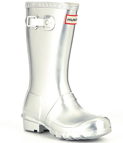 Hunter Original Metallic Girls Waterproof Buckle Strap Rain Boots