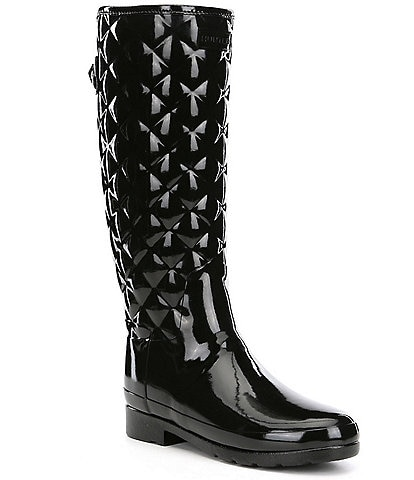 85af497d5a63 Hunter Tall Refined Quilted Gloss Rain Boots