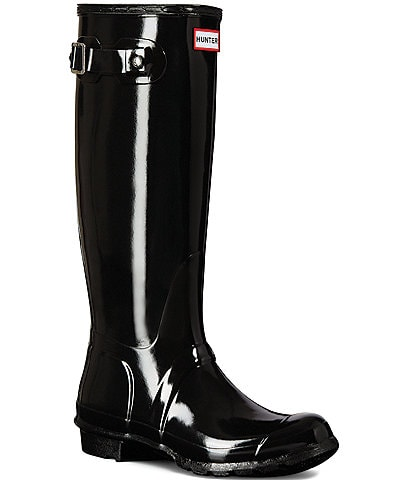 705f9bbc52b8 Hunter Women s Original Tall Gloss Buckle Strap Rain Boots