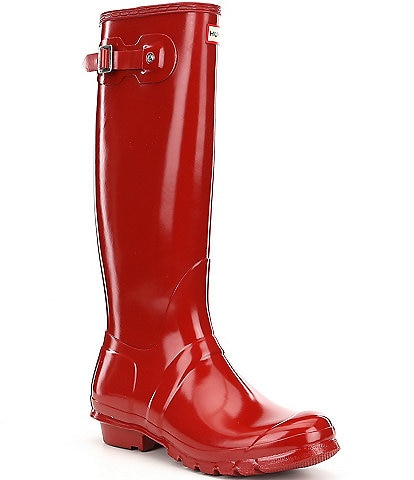Hunter Women's Original Tall Gloss Buckle Strap Rain Boots