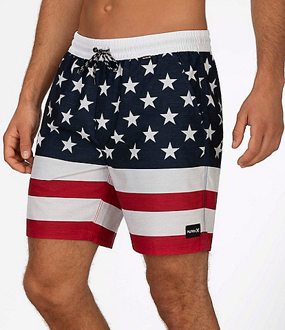 Hurley Americana Patroit 18#double; Outseam Volley Swim Trunks