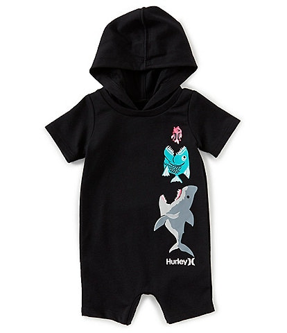 Hurley Baby Boys Newborn-12 Months Short-Sleeve Pocket Play Hooded Shortall
