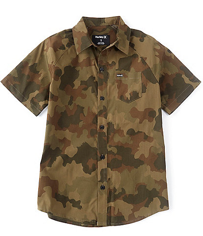 Hurley Big Boys 8-20 Short-Sleeve Camouflage Button Front Poplin Shirt