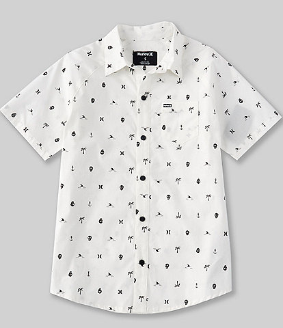 Hurley Big Boys 8-20 Short-Sleeve Printed Button Front Poplin Shirt