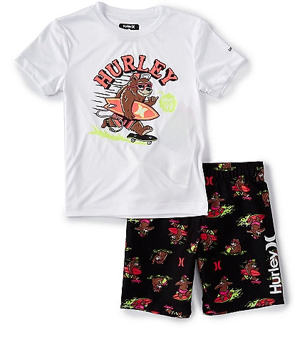 Hurley Little Boys 2T-7 Short-Sleeve Surfing Bear UPF 50+ Swim Tee & Printed Swim Trunks Set