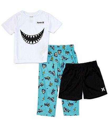 Hurley Little/Big Boys 4-14 Shark Goggles 3-Piece Pajamas Set