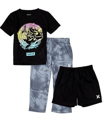 Hurley Little/Big Boys 4-14 Surf Shark 3-Piece Pajamas Set