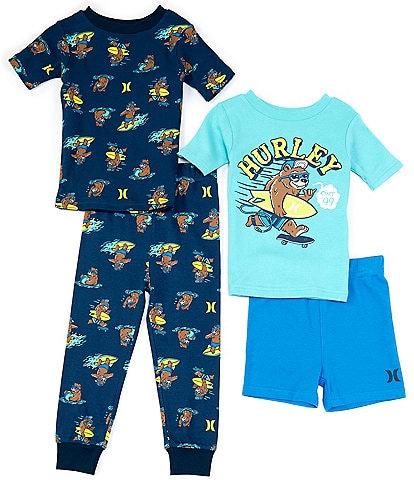 Hurley Little/Big Boys 4-14 Surfin Bear 4-Piece Pajamas Set