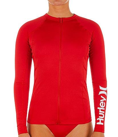 Hurley One And Only Solid Long Sleeve Zip Rashguard Swim Top
