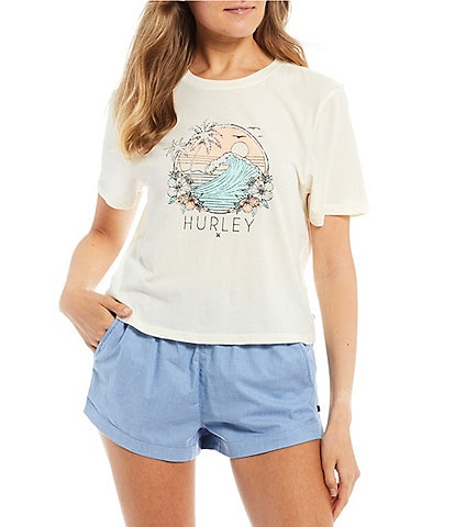 Hurley Short-Sleeve Leoanna Washed Graphic Cropped Tee