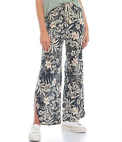 Hurley Solana Tropical-Floral-Printed Easy-Fit Wide-Leg Pants